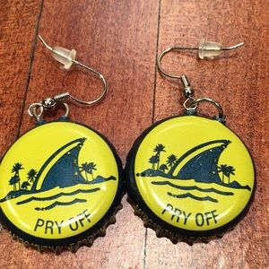 Pair of homemade LAND SHARK beer cap earrings